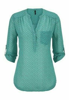 patterned v-neck one pocket chiffon blouse, available at Diy Vetement, Work Attire, Blouse Designs, Style Me, Cute Outfits, Couture, Clothes For Women, Stylish, Womens Fashion