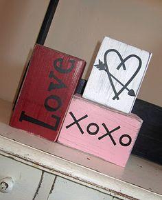 Valentines blocks- have the kids paint, then write word... Great keepsake too!!