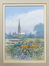 SALISBURY CATHEDRAL 1987 Framed Landscape Watercolour Painting signed Bill Toop Watercolor Landscape Paintings, Watercolour Painting, Salisbury Cathedral, Painted Signs, Sculpture, World, Frame, Art, Picture Frame