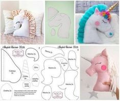 Amazing Home Sewing Crafts Ideas. Incredible Home Sewing Crafts Ideas. Sewing Toys, Baby Sewing, Sewing Crafts, Sewing Projects, Animal Sewing Patterns, Stuffed Animal Patterns, Doll Patterns, Unicorn Pillow, Pillow Crafts