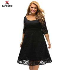 Sunshine Plus Size Dress White Floral Lace Sleeved Fit and Flare Curvy Dress - Cute Dresses Plus Size Skater Dress, Plus Size Lace Dress, Lace A Line Dress, Lace Dress Black, Lace Midi Dress, Skater Dresses, White Lace, White Dress, Robe Swing
