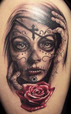 Realism Muerte Tattoo by Carl Grace