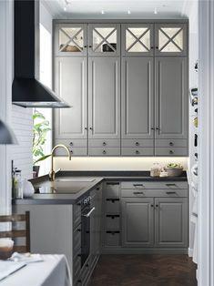 IKEA - SÄLJAN Countertop black mineral effect, laminate Kitchen Ikea, Grey Kitchen Cabinets, White Cabinets, Kitchen Furniture, Kitchen Decor, Kitchen With Black Countertops, Bodbyn Kitchen Grey, Black Granite Countertops, Bodbyn Grey