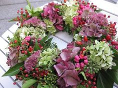 "Wreaths - Autumn wreath ""Hydrangea RosaRot"" - a designer piece by KranzMarie be ., Wreaths - Autumn wreath ""Hydrangea RosaRot"" - a unique product by KranzMarie on DaWanda. Hydrangea Bouquet, Hydrangea Not Blooming, Hydrangeas, Hydrangea Garden, Deco Floral, Arte Floral, Autumn Wreaths, Christmas Wreaths, Corona Floral"