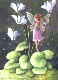 Fairy art by Carmen Keys Medlin. This little fairy is playing amongst her favorite flowers, Cyclamen. Fairy Dust, Fairy Land, Fairy Tales, Fantasy Paintings, Fantasy Art, Fairy Pictures, Beautiful Fairies, Flower Fairies, Art Portfolio