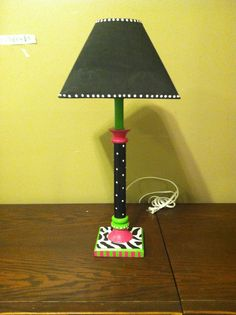 Funky+hand+painted+table+lamp+with+shade+bright+by+TheRummageRack,+$49.99