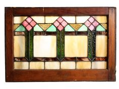 Fantastic Antique American Stained Glass Window with Stylized Flowers