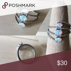 3 Tier Fire Opal Sterling Silver Ring Condition: New Metal: Stamped .925 Sterling Silver Stone: Lab Opal & Cubic Zirconia Size: 6 Will come in a gift box. Reasonable offers accepted! Please ask any questions you have ☺️ -Sterling Silver Ring Women's Jewelry Rings New Promise Ring Engagement Gift Anniversary- Jewelry Rings