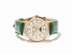 Vollkalender Gold Armbanduhr, Schweiz, um 1950 Vollkalender Gold Armbanduhr, signiert Semca Watch C