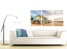Cheap Beach Huts Canvas Prints - 3 Panel for your Bedroom -Panoramic Seaside Wall Art - 3200 - Wallfillers®: Amazon.co.uk: Kitchen & Home