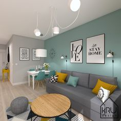 6 Distinctive Design Features of a Contemporary Scandinavian House - TELLDECOR Living Room Turquoise, Teal Living Rooms, Living Room Color Schemes, Colourful Living Room, Paint Colors For Living Room, Home Living Room, Grey Living Room Ideas Colour Palettes, Yellow Bedroom Paint, Turquoise Office