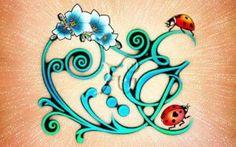 3 illustrazioni per tatuaggi porta fortuna: acronimo EJ coccinelle e fiori (tatuaggi acronimo)