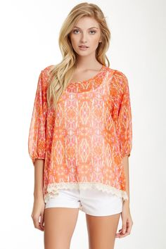 Crochet Trim Top // Pink and Orange <3