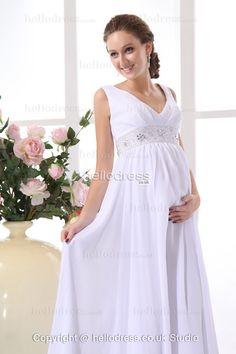 V-neck Straps Chiffon Empire Waist Exquisite Beach Wedding Dress For Pregnant Bride - HelloBridal.co.uk