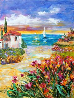 Original oil painting Europe Flowers Villa by the Sea palette knife by Karensfineart