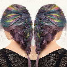 Ultra effortless French braid action Violet Oil Slick vibe. #braid #oilslick…
