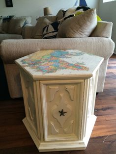 End Tables Refinished Inspirational after Hexagon Table Redo Painted End Tables, Redo Furniture, Decor, Table, End Tables, Octagon Table, End Table Makeover, Furnishings Diy, Table Makeover