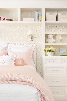 Delicate white and pink bedding accented with pink scalloped shams and monogrammed shams sits atop a white wooden bed in a lovely girl's bedroom. Room, Room Design, Girls Room Design, White And Pink Bedding, Bedroom Design, Home Decor, Room Inspiration, Big Kids Room, White Wooden Bed