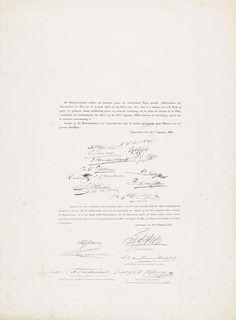 Anonymous   Blad met namen bij de herdenking van het Bombardement van Algiers (1816) in 1850 en 1866, Anonymous, 1866   Blad met de namen en handtekeningen van een groep personen die verklaren dat de voorstelling van het bombardement van Algiers in de nacht van 26-27 augustus 1816 door de gecombineerde Engels-Nederlandse vloot met de waarheid overeenkomstig is, gedaan op het Herinneringsfeest te Amsterdam op 27 augustus 1850. Daaronder op hetzelfde blad de namen en handtekeningen van een…