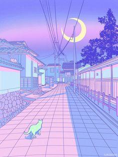 vaporwave fondos How Japan Inspired Me To Create My Own Pastel Wonderland Anime Scenery Wallpaper, Purple Wallpaper, Aesthetic Pastel Wallpaper, Kawaii Wallpaper, Aesthetic Backgrounds, Aesthetic Wallpapers, Wallpaper Backgrounds, Cute Pastel Wallpaper, Purple Backgrounds