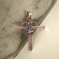 Handmade Copper Cross Pendant Wire Wrapped Necklace - Cross My Heart | popnicute - Jewelry on ArtFire