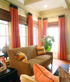 Elegantes Wohnzimmer Interieur Moderne Gardinen Für Wohnzimmer Orange