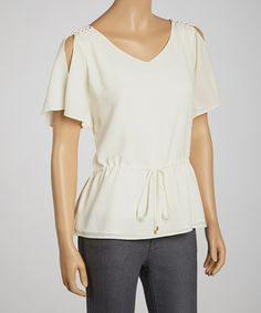Take a look at this Cream Ella Angel-Sleeve Top by Cooper & Ella on #zulily today!