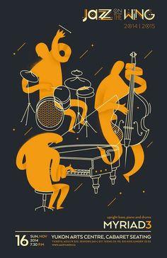 """""""Jazz on the Wing"""" jazz poster by Patryk Hardziej"""