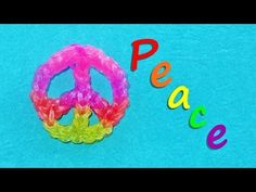 Rainbow Loom PEACE SIGN Charms. Designed and loomed by DIY Mommy. Click on photo for YouTube tutorial.