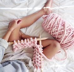 Soft pink chunky knit
