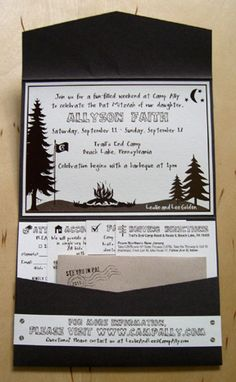 outdoor camp Bat Mitzvah invitation design