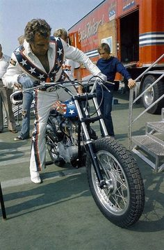 Evel Knievil Respect to the man. He did on Harley bikes what most dirt bikers only dream of.