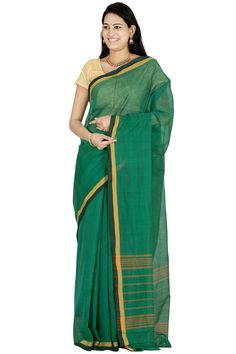 Green Venkatagiri Cotton Saree With Plain Design