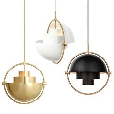 Multi Lite pendant light by Gubi Lighting has two rotating shades, was first design in 1972 when Louis Weisdorf using multiple repeating elements Instead it reflects his passion for diversity. Home Lighting, Lighting Design, Pendant Lighting, Pendant Lamps, Gold Pendant, Pendants, Bar Metal, Factory Lighting, Iron Chandeliers