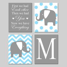 Baby Boy Nursery Art  Chevron Elephant First We Had by Tessyla, $65.00