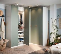 No closet, no problem. The PAX wardrobe is a perfect small space living solution that will help you get organized in style. Ikea Wardrobe, Wardrobe Storage, Wardrobe Doors, Pax Corner Wardrobe, Dressing Pax Ikea, Dressing Angle, Ikea Pax Doors, Armoire Ikea, Bunk Bed With Desk