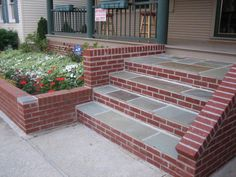 Brick and Stone Steps for Front Door Stairs - Decoration For Home Front Porch Steps, Patio Steps, Garden Steps, Front Porches, Garden Paths, Tile Steps, Brick Steps, Concrete Steps, Brick Porch