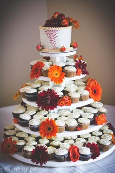 Wedding Cupcake Cake- Fall Wedding at Carlton Oaks Golf Course — San Diego Wedding Photography  - for more ideas and wedding & engagement photography inspiration, check out my blog! www.britjaye.com/blog #sandiegoweddingphotography #weddingphotography #weddingphotos #weddingphotographer