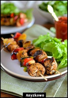 Skewers with Pineapple  Ingredients: 2 single chicken fillets a quarter of fresh pineapple  1/2 red pepper 1/2 green peppers 3 onions 1/4 cup olive oil 3 cloves of garlic pepper salt 1 tablespoon thyme  2 tsp sweet paprika Preparation:  Pour a cup olive oil, add the crushed garlic squeezed through, pour pepper, salt and pepper. Mix