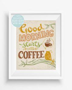 Good morning starts with coffee,Kitchen Printable Breakfast,vintage print,kitchen decor,
