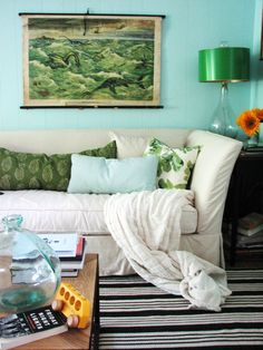 Loving the aqua and greens - from the incredibly talented Lauren Liess at Pure Style Home