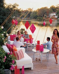 Cocktails at sundown are more memorable when you supplement the waning daylight with Asian-inspired lanterns.