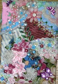 Small Floral Crazy Quilt by Pamela Kellogg of Kitty and Me Designs