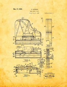 Baby Grand Piano Patent Print Art Poster Golden Look (16' x 20')