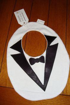 BABY tuxedo bib with satin lapels & bowtie, white flannel. $10.00, via Etsy.