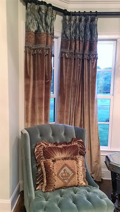Luxury Velvet drapery panels and Beautiful Decorative Pillows for a Great customer in Tennessee! http://reilly-chanceliving.com/collections/window-treatment