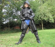 Black Rubber Hooded Raincoat, Black Rubber Gloves and Black Rubber Waders
