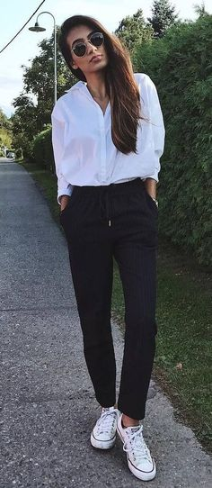 casual office style obsession / white shirt + pants + converse