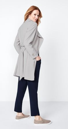 The Soft Trench is a style you'll keep coming back to. Wear it inside or out; this versatile layer will keep you on trend wherever you go. Trench Jacket, Duster Coat, Normcore, Pairs, How To Wear, Jackets, Color, Outfits, Tops