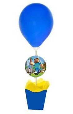 -Enfeite de Mesa Balão Minecraft - Alegra Festa